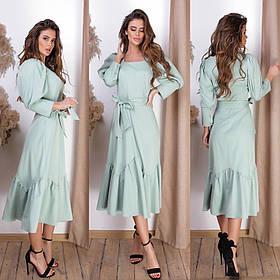 Элегантное платье с поясом / костюмная ткань 15-730