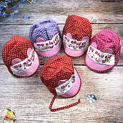 Чепчики на зав'язках для маленьких дівчаток (обсяг 46 см) (3005)