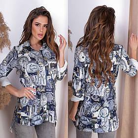 Женская рубашка с принтом / тонкая костюмная ткань / Украина 15-729
