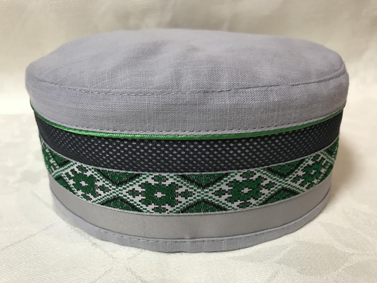 Талибанка-тюбетейка-феска лён светло серая с зелёным орнаментом