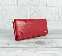 Классический лаковый кошелек Mario Veronni 9043 красный с монетницей снаружи, фото 1
