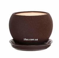 Вазон керамический шоколадный шелк 0.4л