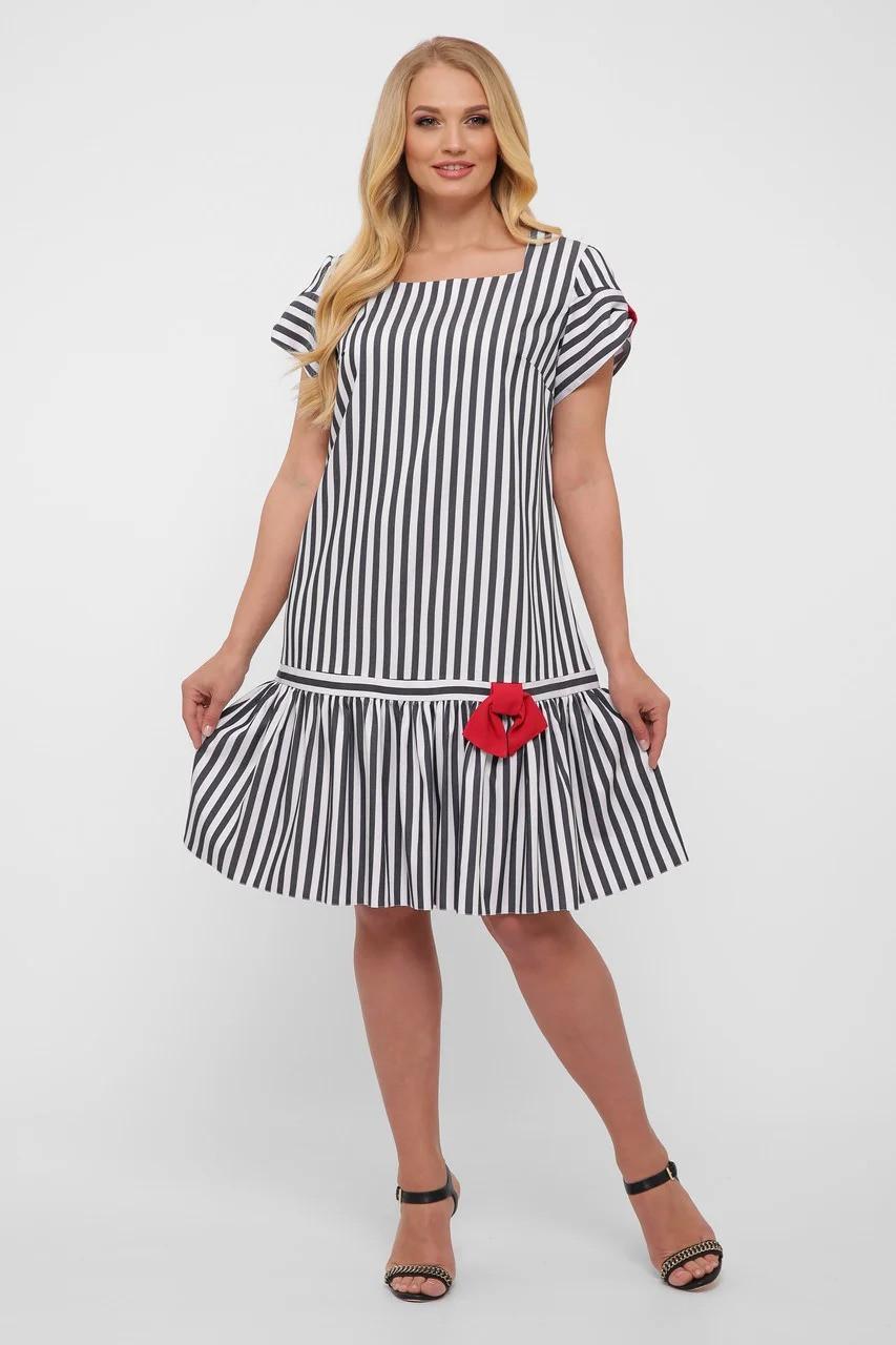 Симпатичне плаття в смужку, розмір від 52 до 58