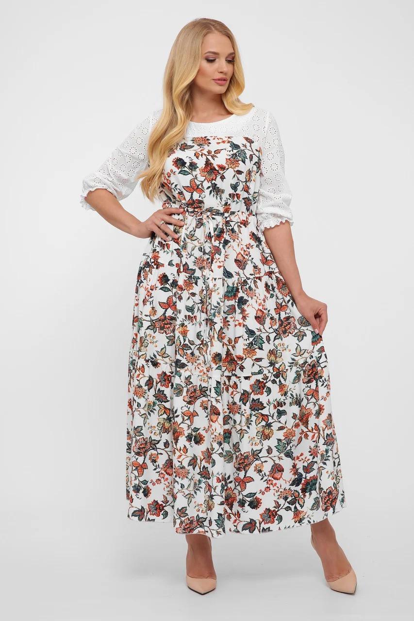 Комбинированное платье макси,  в стиле Кантри размер  от 52 до 56