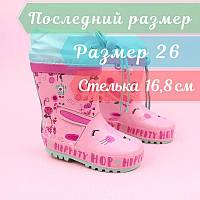 Резиновые детские сапожки на девочку розовые тм Bi&Ki размер 26, фото 1