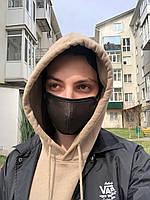 Трехслойная черная маска для лица 1шт.