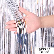 Срібний дощик для фотозони - висота 1 метр, ширина 1 метр, двосторонній