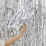 Дождик для фотозоны серебристый - (высота 1 метр, ширина 1 метр), двухсторонний, фото 9