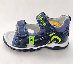 Детские босоножки сандалии для мальчика синие кожа Clibee 30р 18см