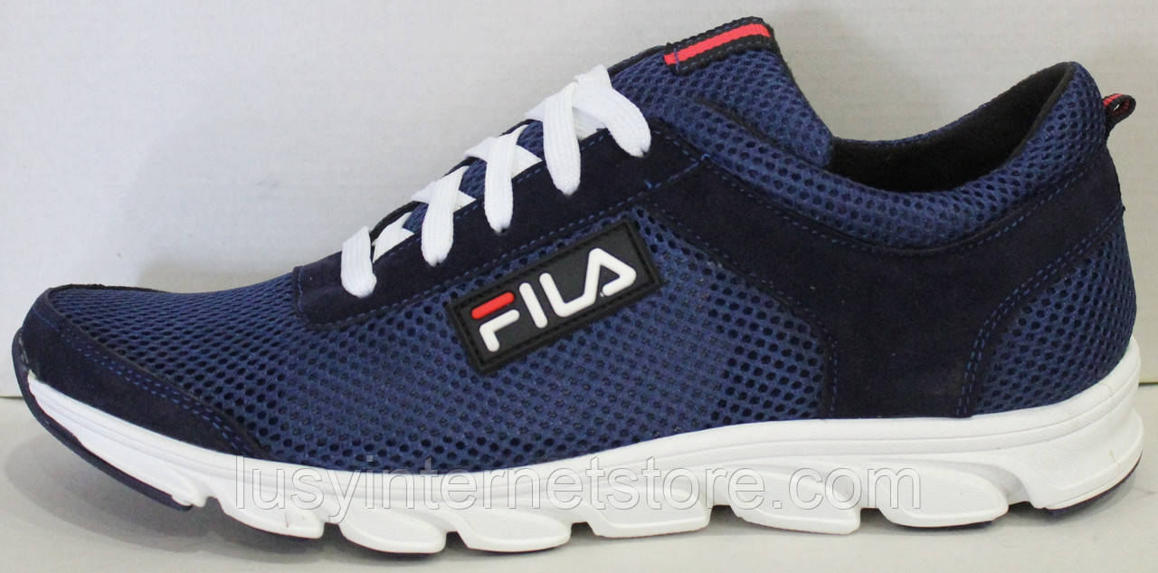 Кроссовки сетка синие мужские на шнурках от производителя модель ЛМ102-4