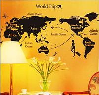 Декоративная  наклейка Карта мира черная  (140х80см)