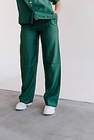 Стильные женские брюки из льна-тафт с высокой талией, карманы и пояс резинка(42-60), фото 1