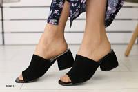 Женские сабо на каблуке, черные замшевые