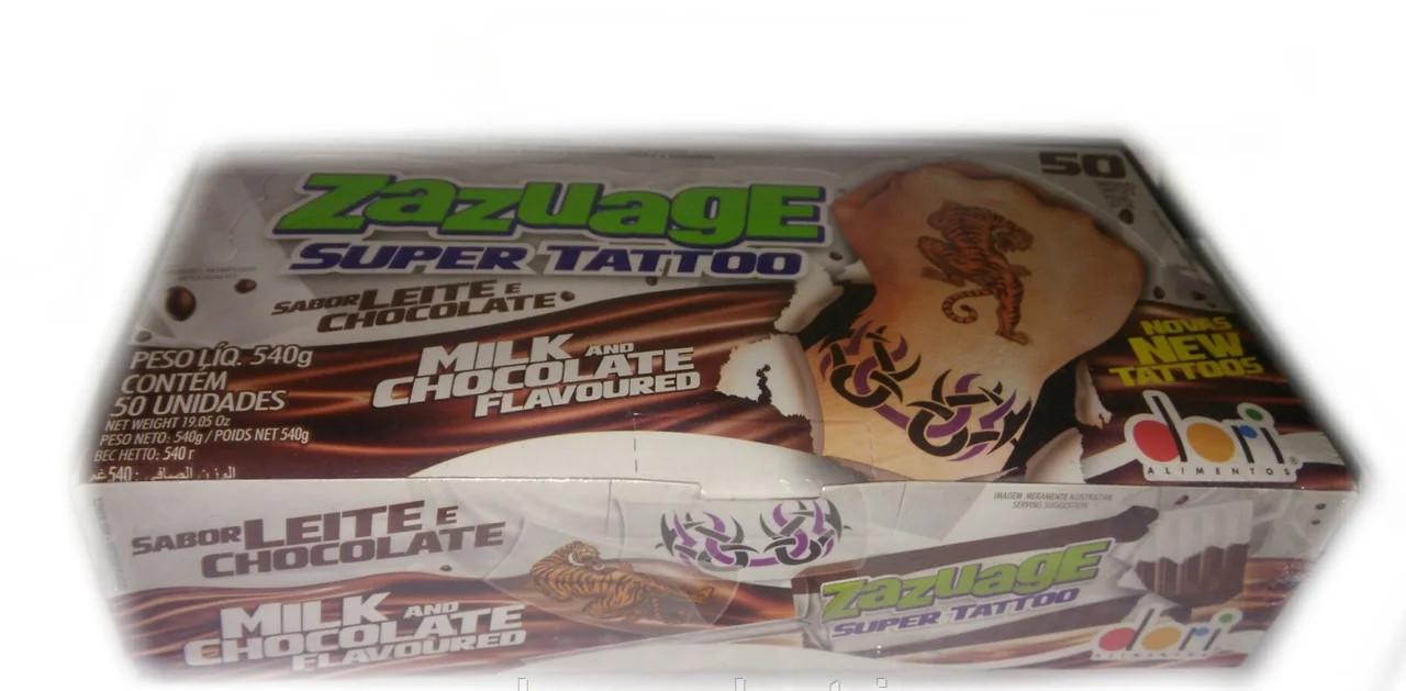 """Жувальні цукерки """"Zazuage"""" Super tattoo шоколад 50 шт"""