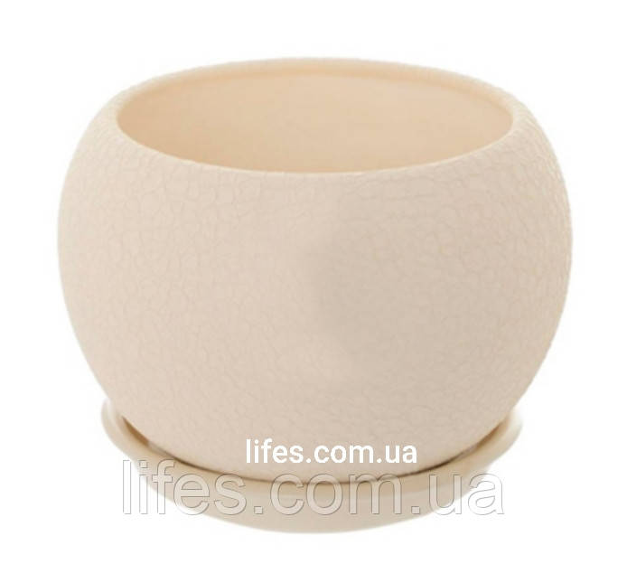 Вазон керамический бежевый шелк 0.4л