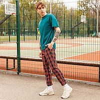 Мужские штаны чиносы Эйб (Abe) в красную клетку  бренд ТУР  размер ХS,S, M, L, XL