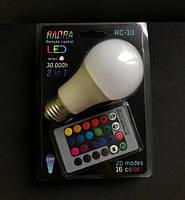 Лампа диско Radra RGB+White, made in Malaysia, 220V, пульт Д/У+подарок