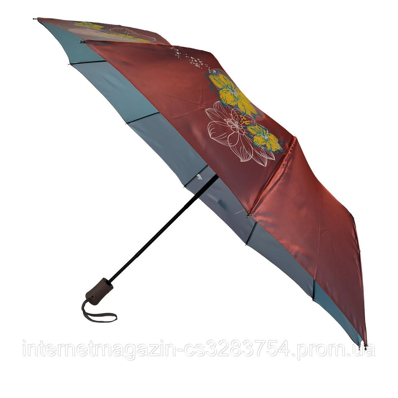 Женский зонт полуавтомат Max на 10 спиц с цветочным узором Бордовый (2018-8)