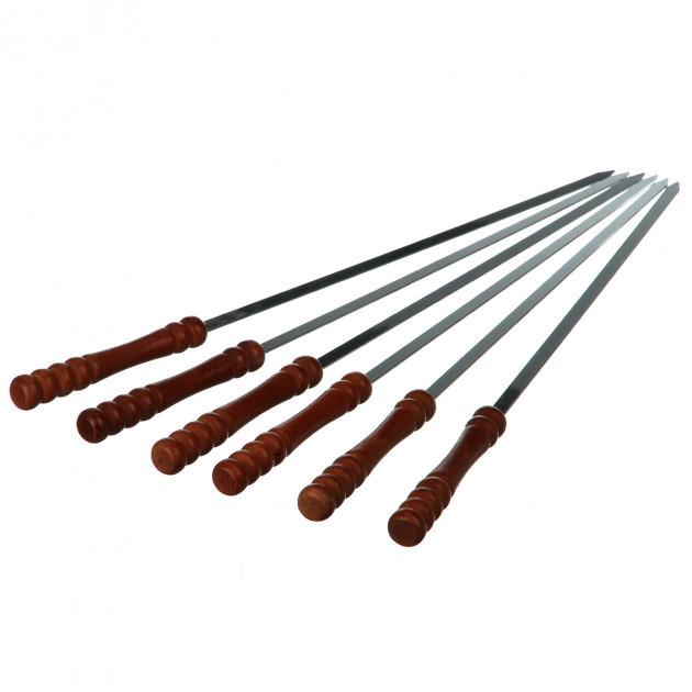 Набор шампуров с деревянными ручками, шампуры, шампур 6 штук, шампура с нержавейки, шампуры плоские походные