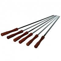 Набор шампуров с деревянными ручками, шампуры, шампур 6 штук, шампура с нержавейки, шампуры плоские походные, фото 1