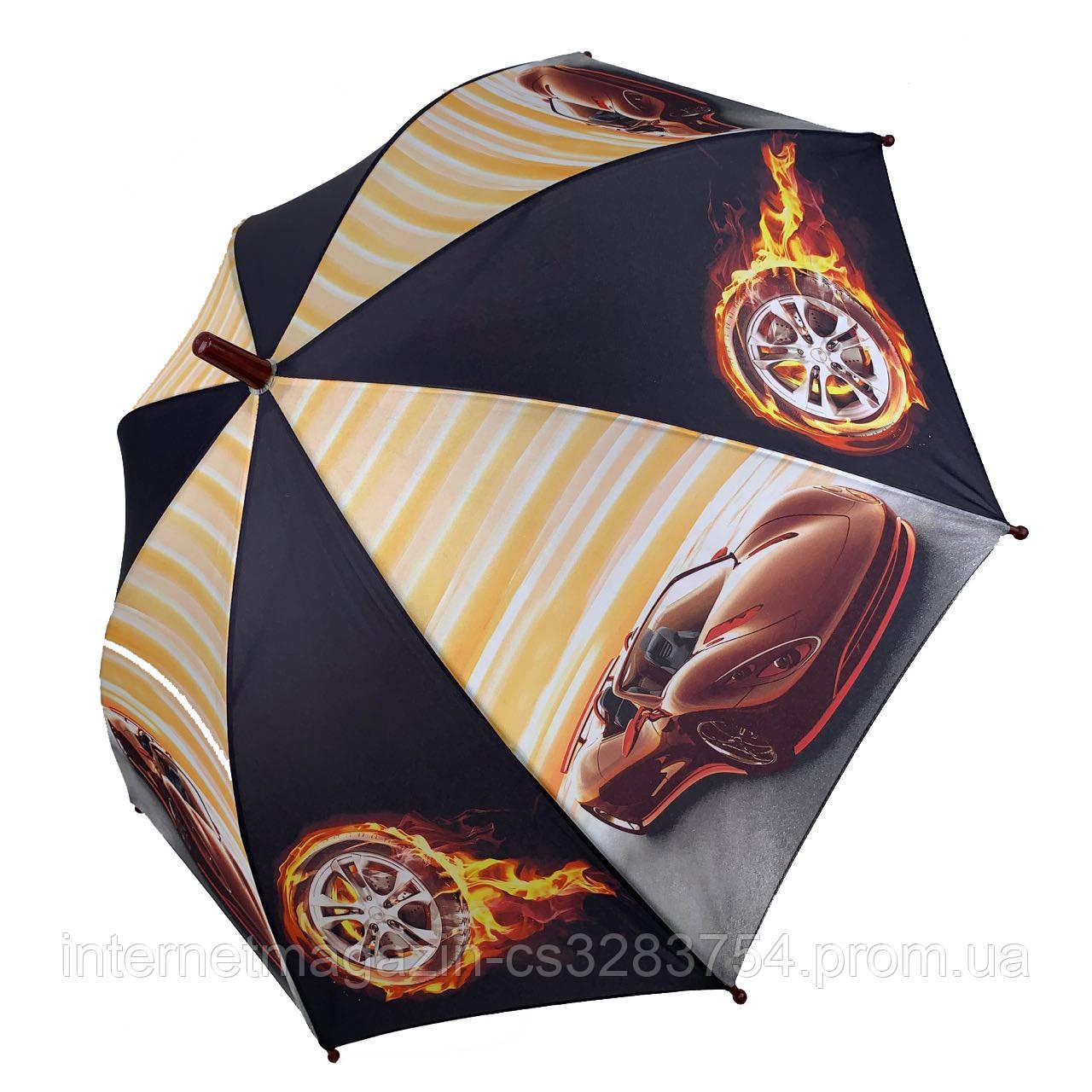 Детский зонтик для мальчиков SL Гонки Черно-оранжевый (18104-4)