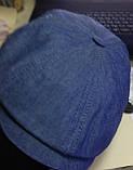 Мужская кепка хулиганка из хлопкового тонкого светлого джинса 59 60, фото 2