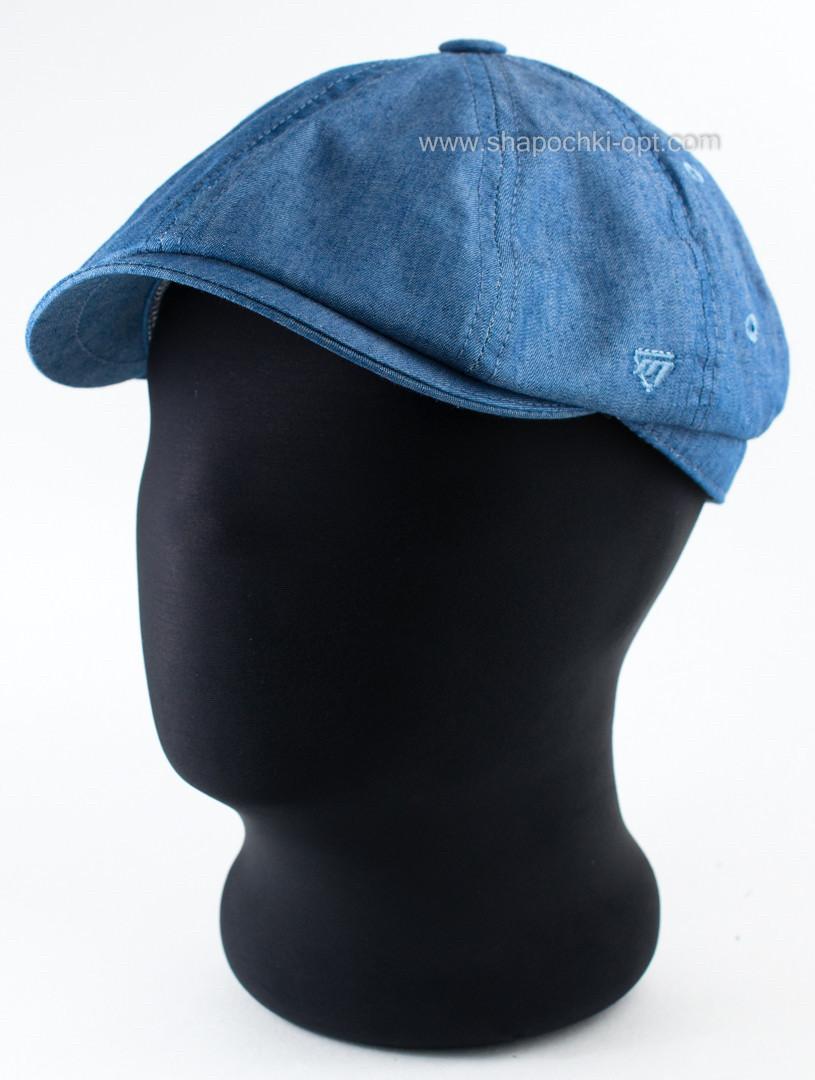 Мужская кепка хулиганка из хлопкового тонкого светлого джинса 59 60