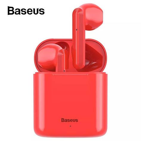 Беспроводные наушники гарнитура с микрофоном Baseus Encok W09 TWS Red, фото 2