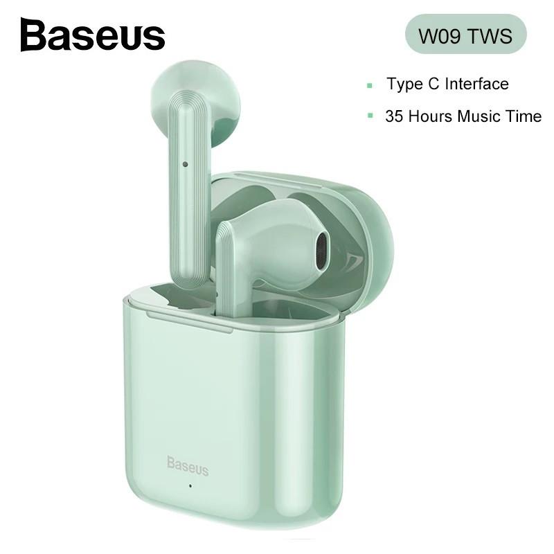 Беспроводные наушники гарнитура с микрофоном Baseus Encok W09 TWS Green