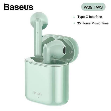 Беспроводные наушники гарнитура с микрофоном Baseus Encok W09 TWS Green, фото 2