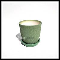 Горшок цветочный керамический шелк оливковый, 1 литр