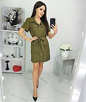 Платье-рубашка с карманами женское НОРМА (ПОШТУЧНО)