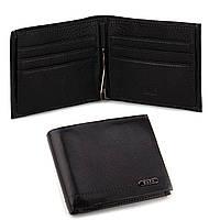 Кожаный мужской кошелек портмоне с зажимом Kafa черный, на магните