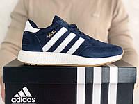 Мужские кроссовки Adidas Iniki темно синие с белым