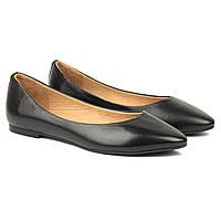 Балетки кожаные Woman's heel черные (О-882)