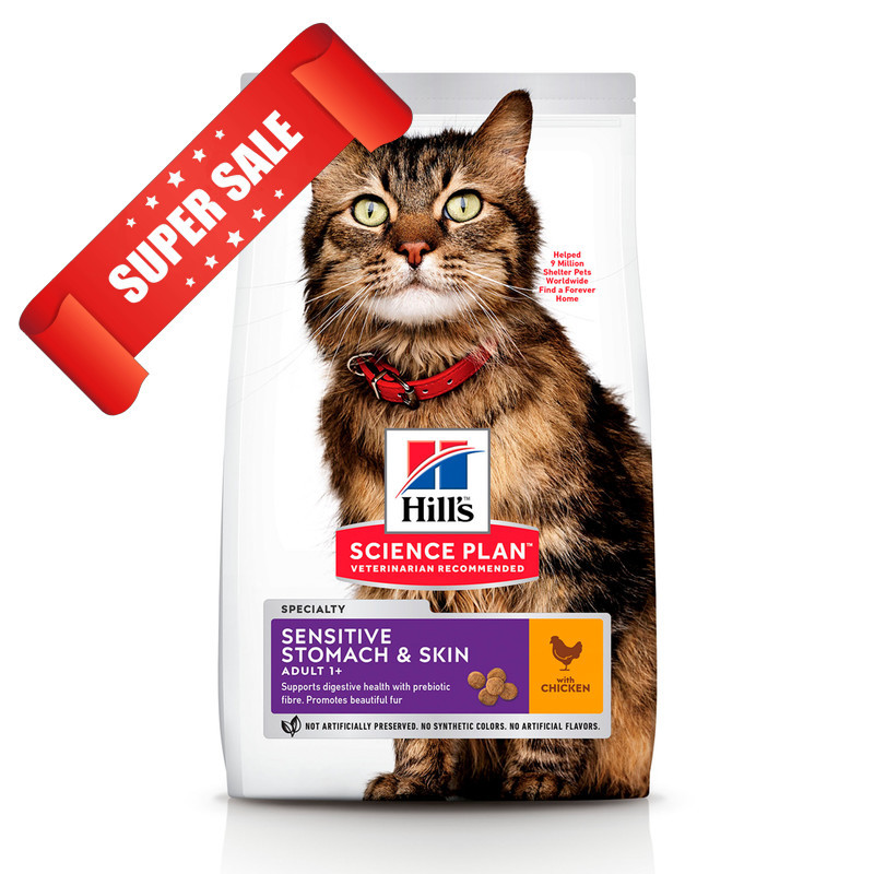 Сухой корм для кошек Hill's Science Plan Feline Adult Sensitive Stomach & Skin Chicken 1,5 кг