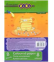 Бумага цветная, А5, 8 листов, 8 цветов, эконом, SMART Line