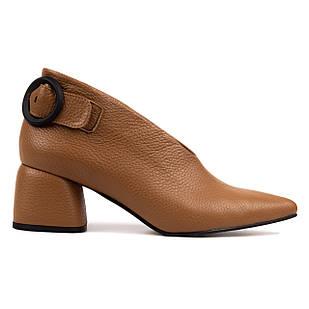 Кожаные туфли лодочки 37 размер Woman's heel необычного карамельного цвета с широким каблуком