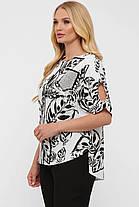 Модная легкая женская блузка из натурального льна батал, размер от 52 до 58, фото 2
