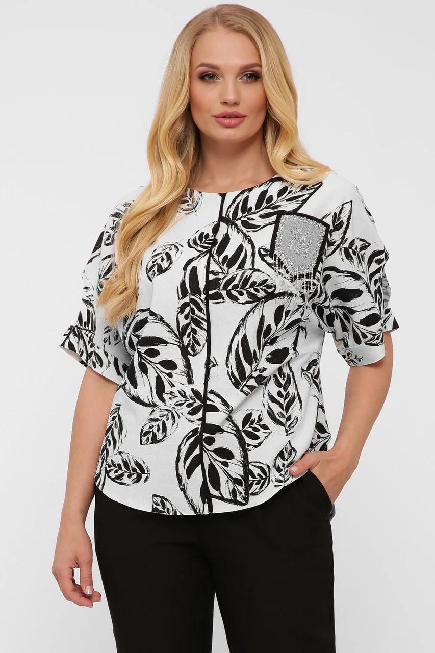 Модная легкая женская блузка из натурального льна батал, размер от 52 до 58