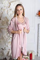 Комплект ночная рубашка + халат К930н Мокко