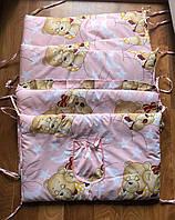 Защита - бортики на детскую кроватку из 4-х частей, Мишки спят, розовый