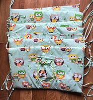 Защита - бортики на детскую кроватку из 4-х частей, Совы на веточках, зелёный