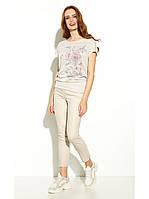 """Польская женская блуза короткий рукав с цветочным принтом """"Pinari"""" /размер 42 (XL)"""