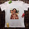 Мужская футболка с принтом - Девушка с птицами