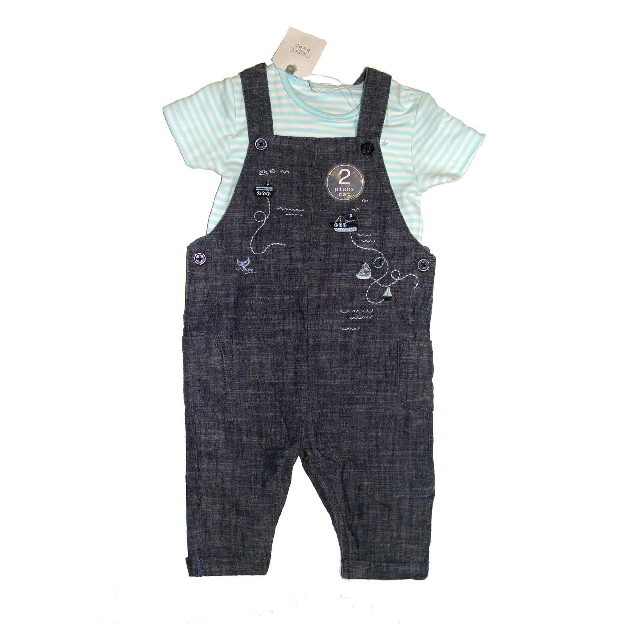 Набор ромпер для новорожденных  джинсовый и боди Next baby р.3-6мес (68см)