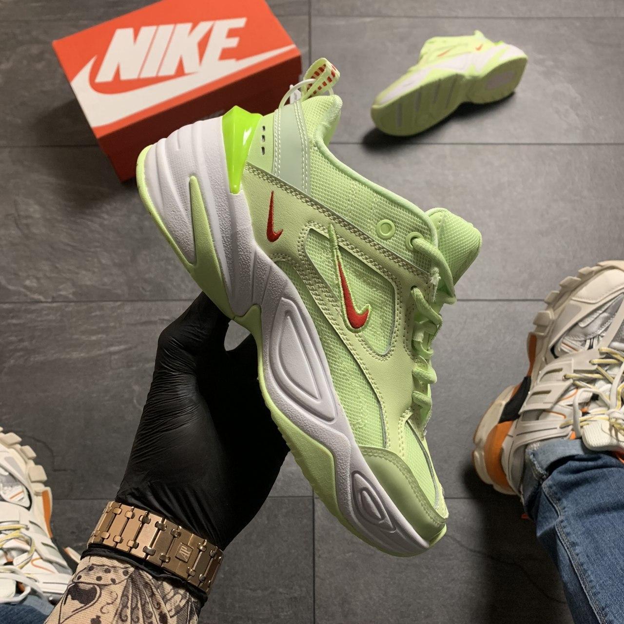 Женские кроссовки Nike M2K Tekno Light Green, Женские Найк М2К Текно Зеленые Кожаные