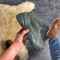 Женские кроссовки Nike M2K Tekno Linen Green, Женские Найк М2К Текно Зеленые Кожаные