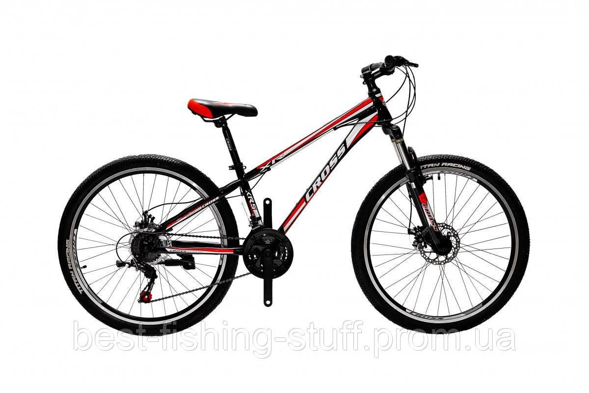 """Велосипед Cross Racer 26""""13"""" Чёрный-Красный-Белый"""