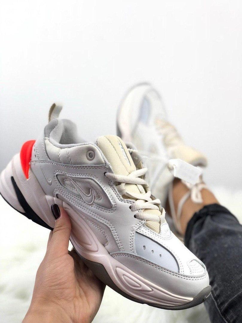 Женские кроссовки Nike M2K Tekno Phantom, Женские Найк М2К Текно Белые Кожаные
